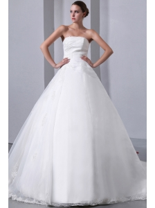 Beautiful A-line Strapless Appliques Wedding Dress Chapel Train Satin and Organza
