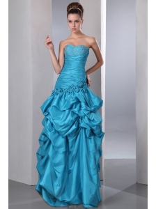 Teal Column Sweetheart Beading and Pick-ups Quinceanera Dress Floor-length Taffeta