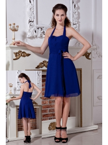 Blue Empire Halter Mini-length Bridesmaid Dress Chiffon Bow