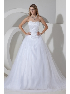Cheap A-line / Princess Strapless Wedding Dress Beading Court Train Tulle