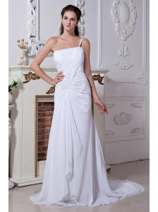 Elegant A-line / Princess One Shoulder Beach Wedding Dress Court Train Chiffon Beading and Ruch