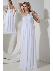 Elegant Empire One Shoulder Hand Made Flowers Bridesmaid Dress Floor-length Chiffon