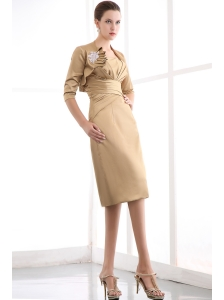 Gold Column Strapless Ruch Mother Of The Bride Dress Knee-length Satin