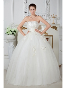 Gorgeous Ball Gown Strapless Beading Wedding Dress Floor-length Tulle