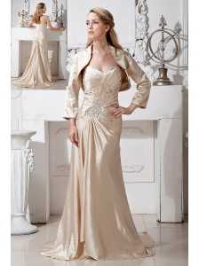 Gorgeous Champagne Column Sweetheart Beading and Ruch Mother Of The Bride Dress Brush Train Taffeta