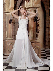 Graceful A-line Straps Beach Wedding Dress Watteau Train Chiffon