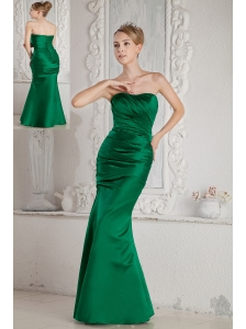Green Mermaid Strapless Ruch Bridesmaid Dress Floor-length Satin