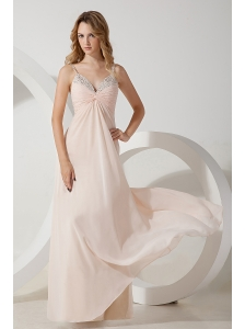 Light Pink Homecoming Dress Empire Straps Beading Floor-length Chiffon