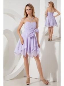 Lilac Empire Sweetheart Bridesmaid Dress Mini-length Chiffon Bowknot