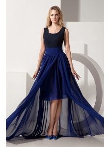 Navy Blue High-low Homecoming Dress Empire Scoop Chiffon