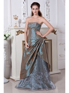 Olive Green Empire Strapless Embriodery Mother Of The Bride Dress Floor-length Taffeta and Organza