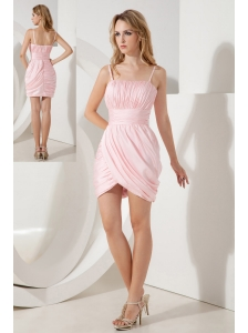 Baby Pink Column Straps Cocktail Dress Ruch Mini-length Taffeta
