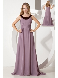 Purple Empire Scoop Bridesmaid Dress Brush Train Chiffon