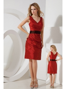 Red Column V-neck Bridesmaid Dress Mini-length Taffeta Sash