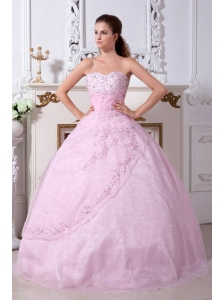 Rose Pink Quinceanera Dress A-line / Princess Sweetheart Organza Embroidery Floor-length