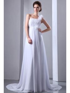 Simple A-line One Shoulder Beach Wedding Dress Court Train Chiffon Ruch