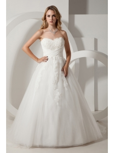 Simple A-line Sweetheart Wedding Dress Appliques Court Train Taffeta and Organza