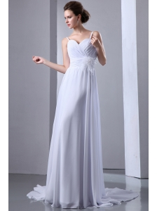 Simple Empire Spaghetti Straps Beach Wedding Dress Court Train Chiffon Ruch