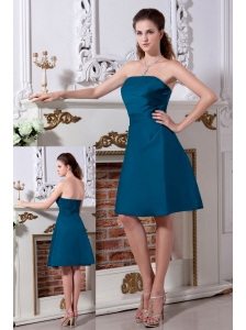 Teal A-line / Princess Strapless Bridesmaid Dress Knee-length Satin Rach