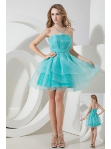 Light Blue A-line Strapless Cocktail Dress Ruch Mini-length Organza
