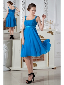 Teal Empire Straps BridesmaidDress Knee-length Chiffon Ruch