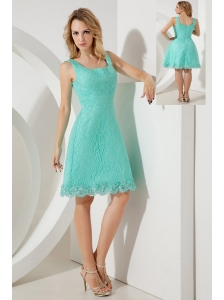 Turquoise A-line / Princess Square Bridesmaid Dress Mini-length Lace