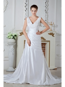 Unique Mermaid V-neck Wedding Dress Appliques Beading and Ruch Court Train Satin