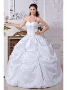White Ball Gown Halter Embroidery Quinceanera Dess Floor-length Taffeta
