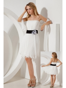 White Empire Strapless Belt Bridesmaid Dress Mini-length Organza