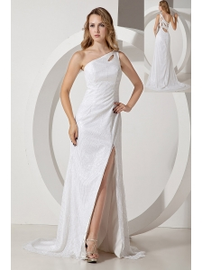 White Evening Dress One Shoulder Column Brush Train Sequin