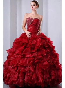 Wine Red A-Line / Princess Sweetheart Beading and Ruffles Quinceanea Dress Floor-length Organza
