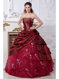 Wine Red Sweet 16 Dress Embroidery A-line Strapless Taffeta and Organza Floor-length