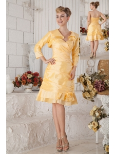 Yellow A-line Sweetheart  Mother Of The Bride Dress Knee-length Taffeta Ruch