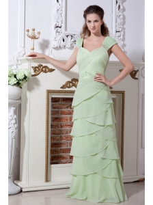 Yellow Green V-neck Straps Rulles Layers Prom Dress