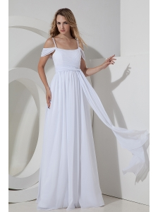 Beautiful Empire Straps Beach Wedding Dress Chiffon Ruch  Floor-length