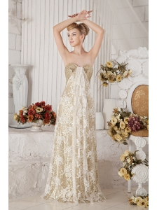 Best Selling Gold Sequin and Lace Champagne Covered Prom Dress
