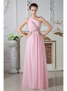 Cheap Baby Pink One Shoulder Chiffon Prom Dress Beaded X Shap