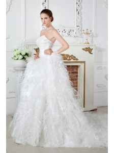 Discount A-line Sweetheart Ruch and Beading Feather Wedding Dress Chapel Train Satin