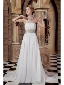 Elegant A-line Strapless Beading Wedding Dress Court Train Chiffon
