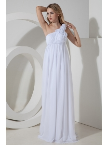 Elegant Empire One Shoulder Beach Wedding Dress Chiffon Hand Made Flowers Floor-length