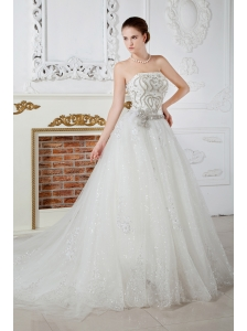 Exqusite Wedding Dress A-line Strapless Beading Court Train Tulle