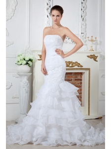 Gorgeous Mermaid Strapless Applqiues Wedding Dress Court Train Organza