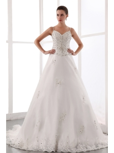 Gorgeous Wedding Dress A-line Spaghetti Straps Beading Court Train Satin and Lace