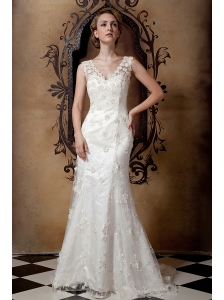 Gorgeous Wedding Dress Column V-neck Brush Train Taffeta and Lace