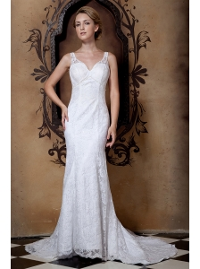 Gorgeous Wedding Dress V-neck Beading Column  Court Train Lace