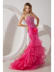 Hot Pink Mermaid Strapless Brush Ruffles Train Prom / Evening Dress with Beading