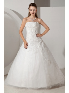 Lovely Wedding Dress A-line Strapless Appliques Court Train Tulle