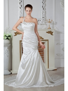 Luxurious Wedding Dress One Shoulder Mermaid Beading Court Train Taffeta