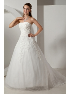 Modest A-line Strapless Appliques Plus Size Wedding Dress Court Train Tulle