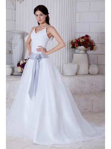 Modest A-line Straps Sashes Wedding Dress Court Train Organza